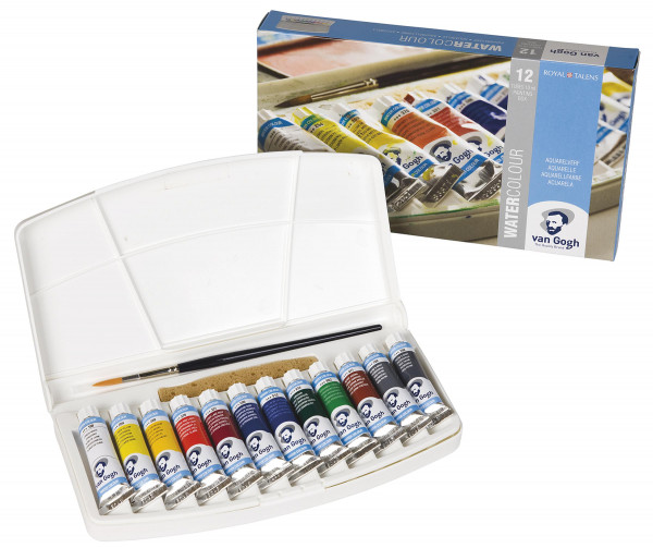 Standard-Farbtöne   Talens Van Gogh Aquarell Kunststoffkasten 12x 10 ml