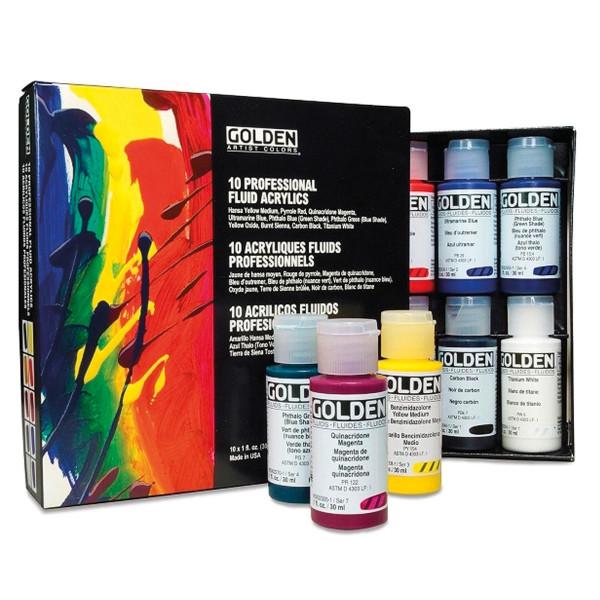 Golden Fluid Acrylics-Set | 10x 30 ml