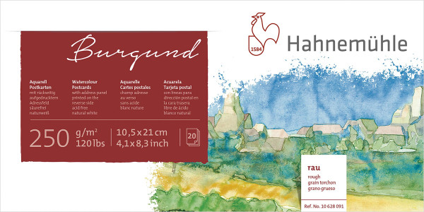 Hahnemühle Burgund Akademie Aquarellpostkarten-Block
