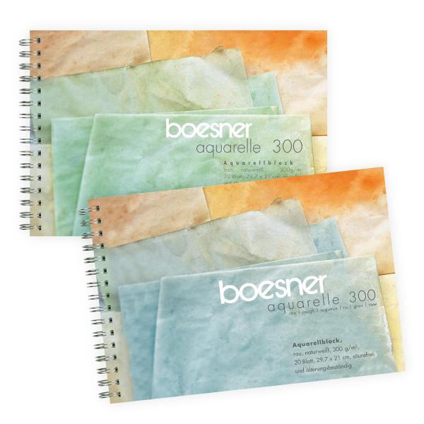 boesner – Aquarelle 300 Professionellt akvarellblock med spiral