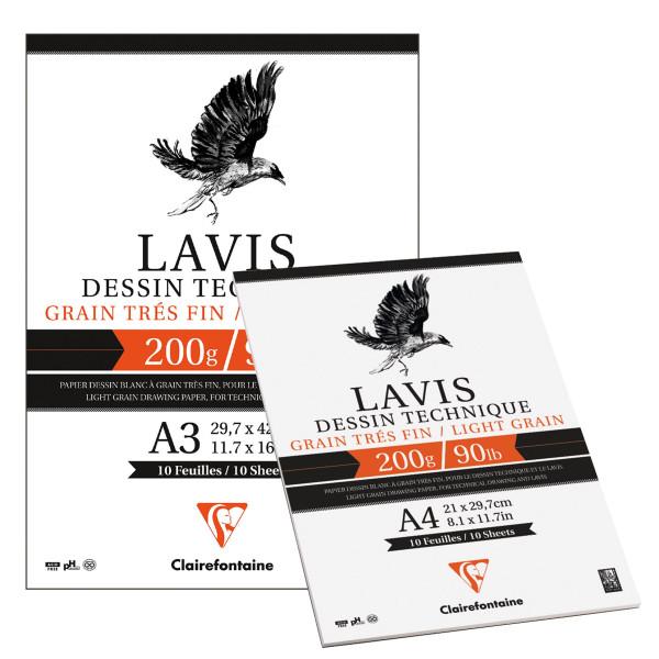 Clairefontaine Lavis Tekniskt teckningspapper, block